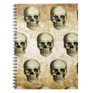 Victorian Steampunk Gothic Skulls Antique Vintage Spiral Notebook