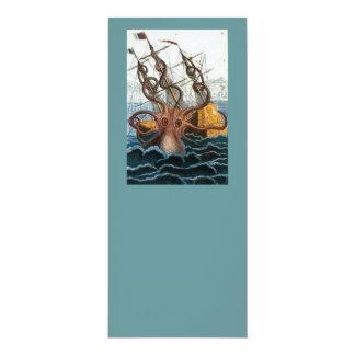 Victorian Steampunk Kraken Octopus Sea Creature 10 Cm X 24 Cm Invitation Card