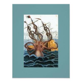 Victorian Steampunk Kraken Octopus Sea Creature 11 Cm X 14 Cm Invitation Card