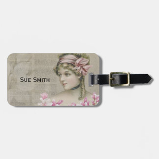 Victorian Steampunk Lady Pink Newspaper LuggageTag Luggage Tag
