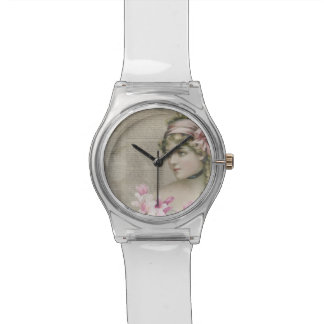 Victorian Steampunk Lady Pink Newspaper Watch