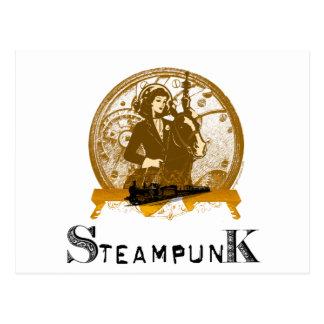 Victorian steampunk space gal postcard