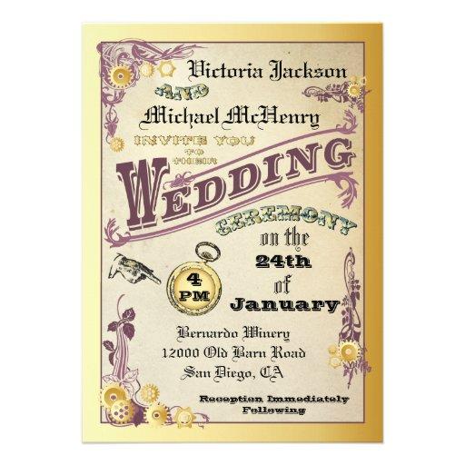 Victorian Steampunk Wedding Invitations