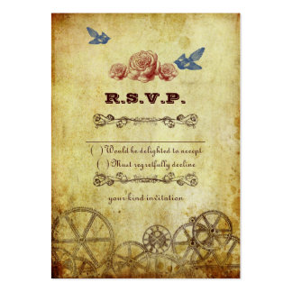 Victorian Steampunk Wedding RSVP Card Business Card Templates