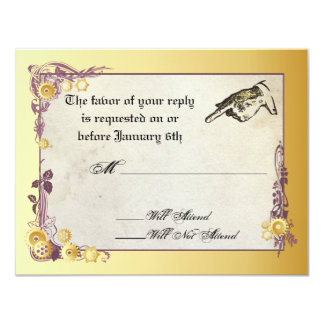 Victorian Steampunk Wedding RSVP Card Announcement