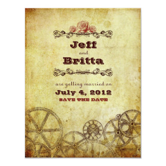 Victorian Steampunk Wedding Save the Date v.2 11 Cm X 14 Cm Invitation Card