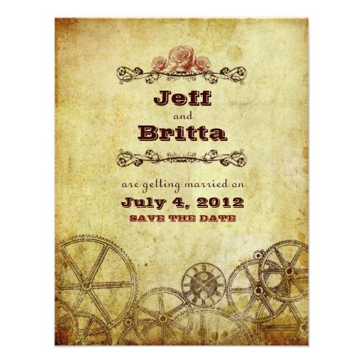 Victorian Steampunk Wedding Save the Date v.2 Personalized Invitations