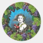 Victorian style boy in grape wreath round sticker