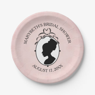 Victorian Style Cameo Bridal Shower Paper Plate