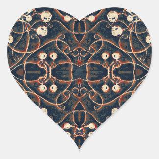 Victorian Style Grunge Pattern Heart Sticker