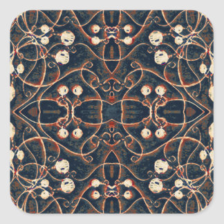 Victorian Style Grunge Pattern Square Stickers