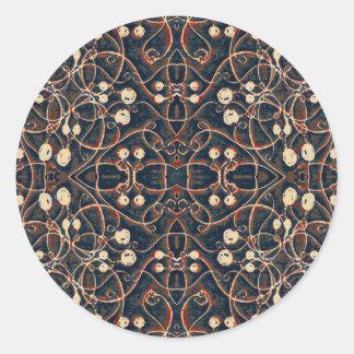 Victorian Style Grunge Pattern Round Stickers