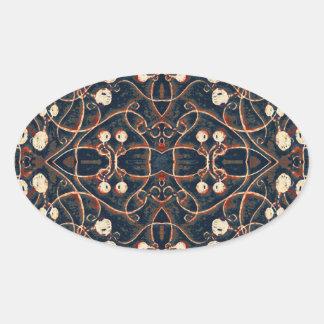 Victorian Style Grunge Pattern Oval Sticker