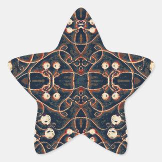 Victorian Style Grunge Pattern Star Sticker