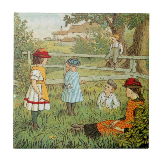 Victorian summer, children playing in the grass small square tile