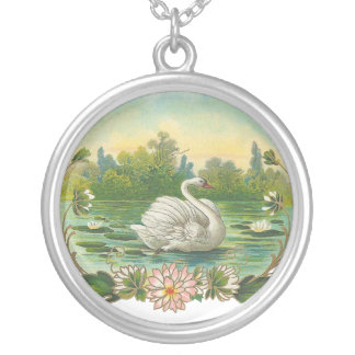 Victorian Swan Silver Plated Necklace