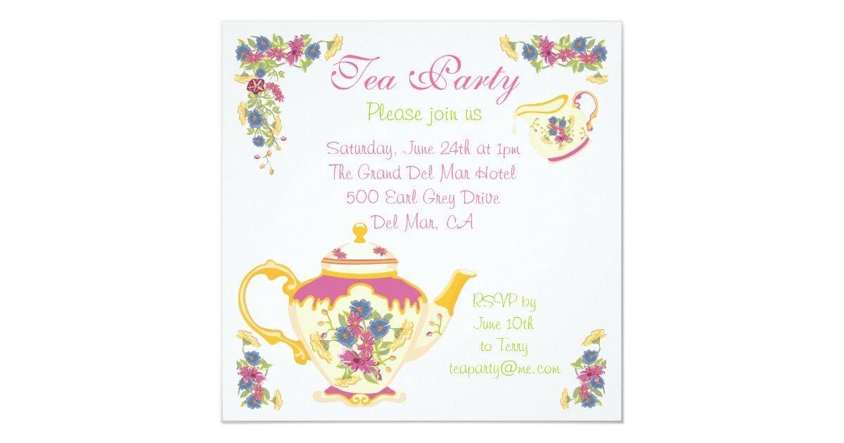 Victorian Tea Pot Tea Party Invitation   Zazzle.co.uk
