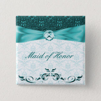 Victorian Teal Damask Wedding Party Pin Button