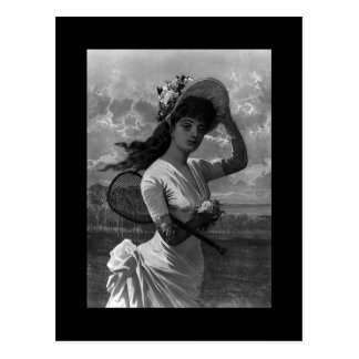 Victorian Tennis Lady Postcard