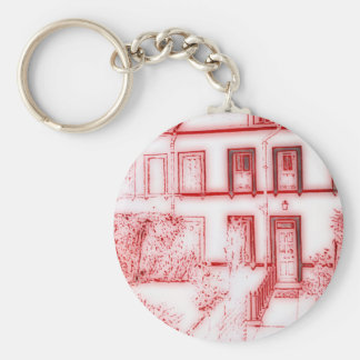 Victorian Terrace House Basic Round Button Key Ring