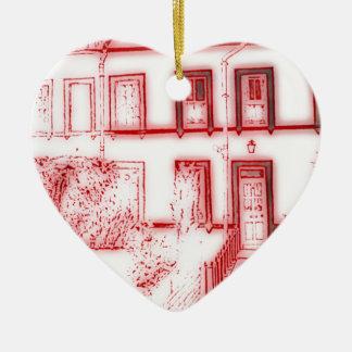Victorian Terrace House Ceramic Heart Decoration
