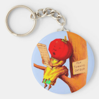 Victorian trade card tomato head woman key ring