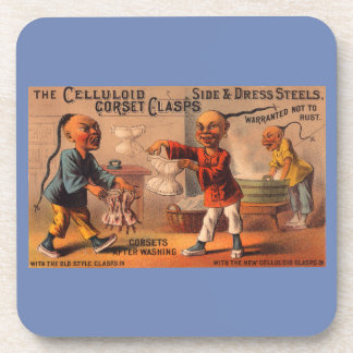 Victorian tradecard celluloid corset clasps coaster