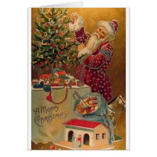 Victorian Tree Trimming Santa Christmas Card