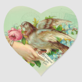 Victorian Valentine Bird and rose Heart Sticker