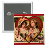 Victorian Valentines Couple 15 Cm Square Badge