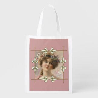 Victorian Vintage Art Nouveau Lady Monogram Reusable Grocery Bag