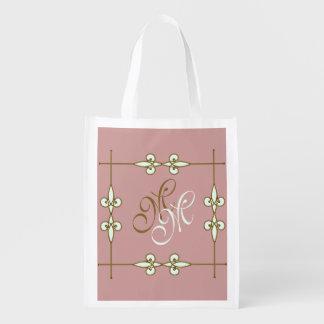Victorian Vintage Art Nouveau Ornamental Monogram Reusable Grocery Bag