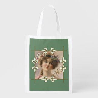Victorian Vintage Art Nouveau Woman Monogram Reusable Grocery Bag