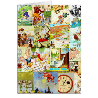 Victorian Vintage Childrens Nursery Rhymes Montage Greeting Card