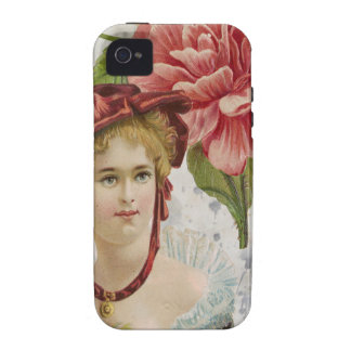 Victorian Vintage Red Rose Lady iPhone 4 Cases