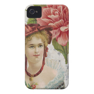 Victorian Vintage Red Rose Lady iPhone 4 Case-Mate Case
