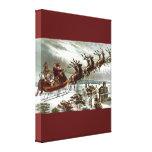 Victorian Vintage Santa Claus Reindeer Sleigh Stretched Canvas Prints