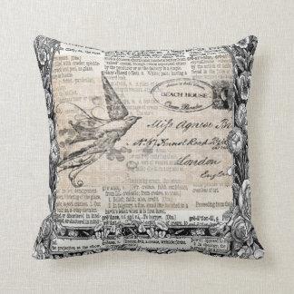 Victorian Vintage Style Bird Throw Pillow