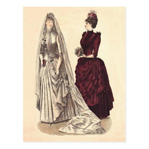 Victorian wedding gown postcards