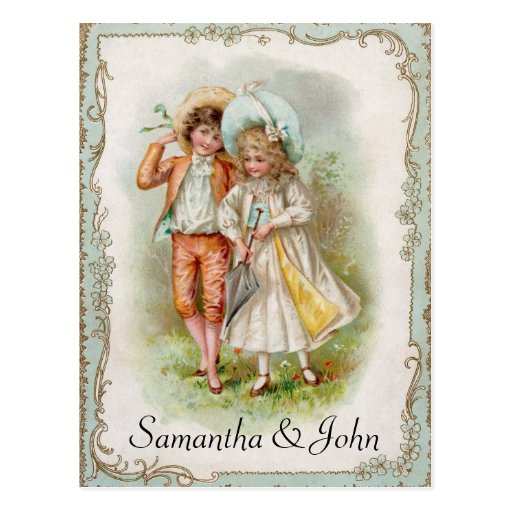 Victorian Wedding Save the Date Postcard