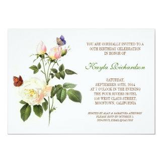 victorian white rose birthday 13 cm x 18 cm invitation card