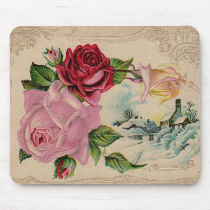 Victorian Winter Roses Mousepad