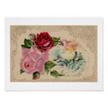 Victorian Winter Roses Poster