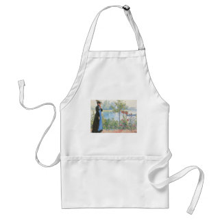 Victorian Woman and Summer Flowers Standard Apron