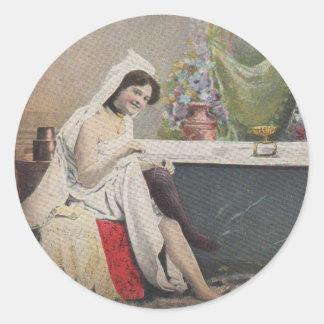 Victorian woman bathing round sticker