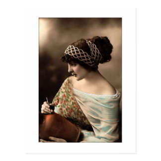 victorian woman hair up in beads postcard