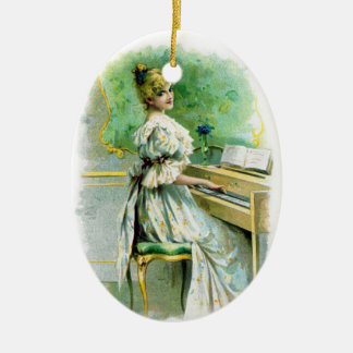 Victorian Woman Playing Piano Ceramic Oval Decoration