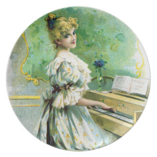 Victorian Woman Playing Piano Plate