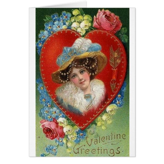 Victorian Woman Portrait Valentine's Day Card