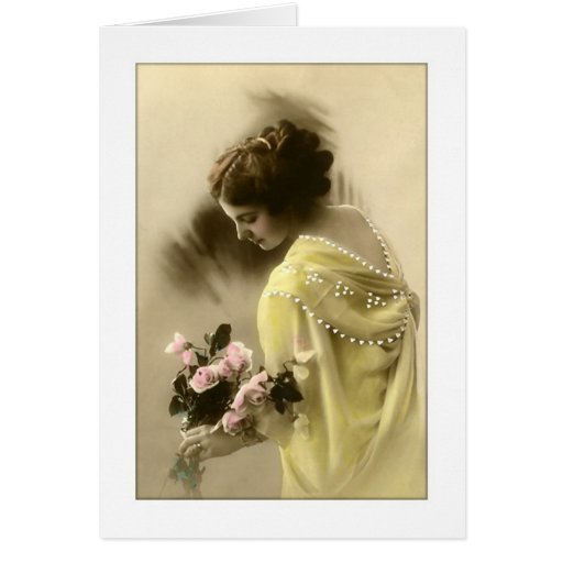 victorian woman roses, romantic greeting cards